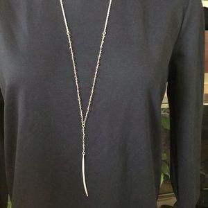 Long silver minimalist necklace